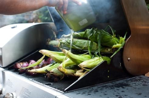 Grilling corn for Steve Gonzales' La Carnita taco