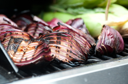 Grilled spanish onions for Steve Gonzales of Top Chef Canada's taco for La Carnita's pop-up taco shop