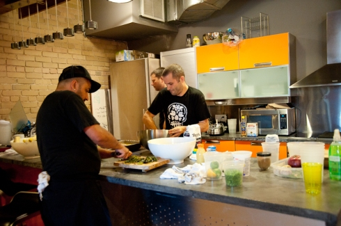 Steve Gonzales and Andrew Richmond prepping for La Carnita in OneMethod's kitchen