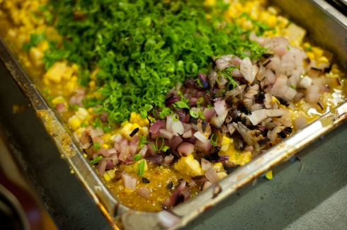 Steve Gonzales' charred tomatillo and corn salsa for La Carnita
