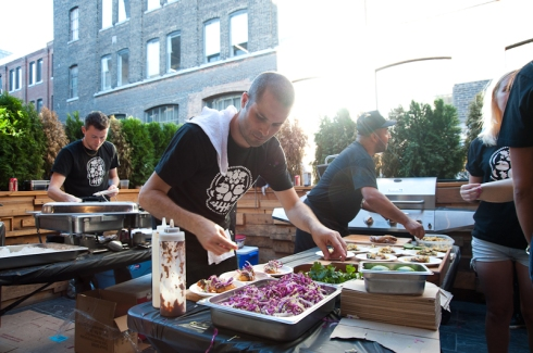 Andrew Richmond making tacos for La Carnita