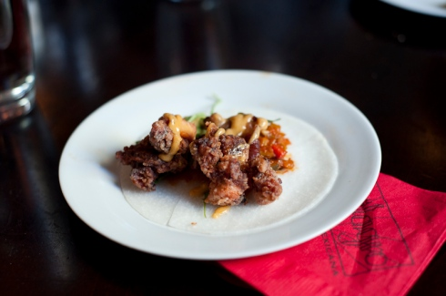 Nick Liu of Niagara Street Cafe's taco - Crispy octopus and jicama