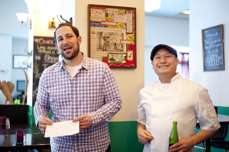 Joel Solish with Nick Liu, the winner of the Death Row Meals Supper Club's taco battle.