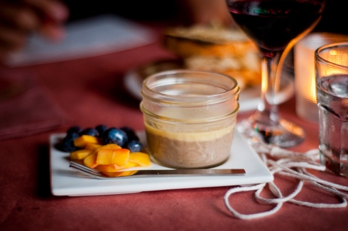 "Lamb liver parfait with a fois gras ""crust"", pickled peaches and blueberries, The Feasting Room"