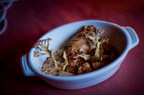 Lamb brains with cauliflower 3 ways, tahini, sumac and zatar, The Feasting Room