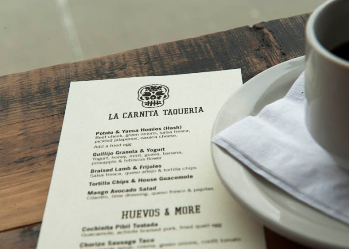 Brunch menu at La Carnita, Toronto