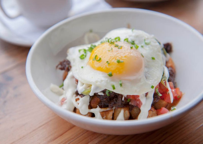 Potato and yucca homes topped with a poached egg at La Carnita brunch