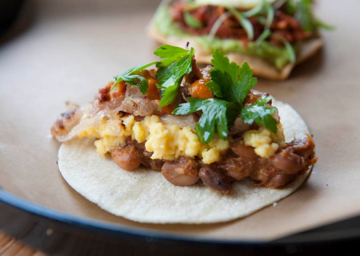 Lamb bacon and eggs taco, La Carnita brunch